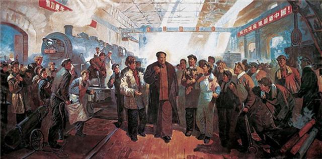 毛主席视察视哈尔滨车辆工厂油画