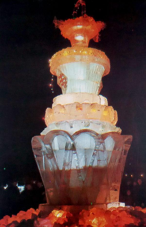 冰花篮造型塔